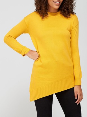 Very Super SoftCrew Neck Asymmetric Hem Jumper - Mustard