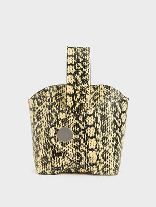 Charles & Keith Snake Print Mini Bucket Bag