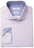 Isaac Mizrahi Men's Slim Fit Check Cut Away Collar Dress Shirt