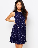 Brave Soul Skater Dress With Tie Up Front In Feather Print