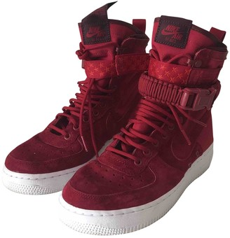 Nike SF Air Force 1 Burgundy Suede Trainers