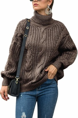 Yulinge Women's Casual Pullover Sweaters Turtleneck Chunky Knit Winter Warm Sweater Jumper Tops Coffee XL