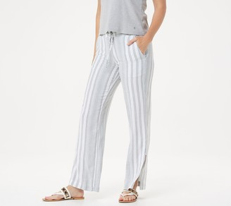 Side Stitch Petite Striped Linen Blend Pull-On Wide-Leg Pants