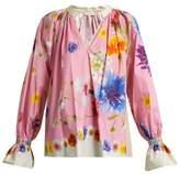 Natasha Zinko Floral-print cotton-poplin blouse