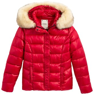 Kaporal Short Padded Puffer Jacket with Faux Fur Hood