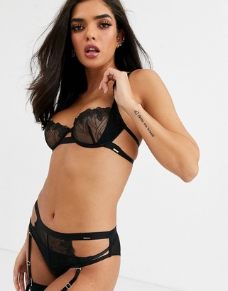 Bluebella Lark floral embroidered mesh bra in black