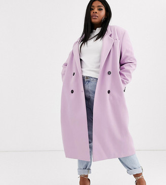 ASOS DESIGN Curve hero longline double breasted maxi coat in lilac