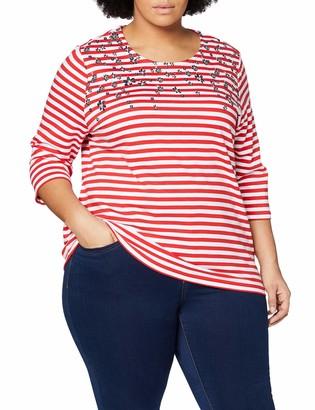 Ulla Popken Women's Ringel-Sweatshirt Mit Blumendruck