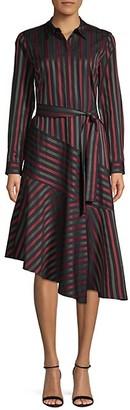 Lafayette 148 New York Stripe Asymmetrical Shirtdress
