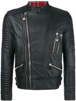 Philipp Plein tartan trim biker jacket