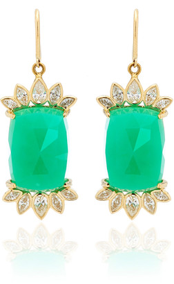 Kathryn Elyse Fringe 14K Yellow Gold Chrysoprase and Diamond Earrings
