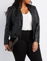 Charlotte Russe Plus Size Faux Leather Belted Moto Jacket