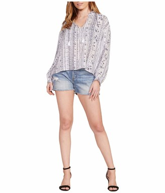 Cupcakes And Cashmere Women's Jessie Woodblock Stripe Peasant Top