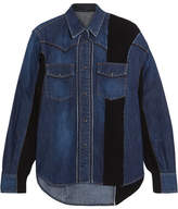 Sacai Ribbed Knit-paneled Denim Shirt - Mid denim