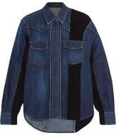 Sacai Ribbed Knit-paneled Denim Shirt