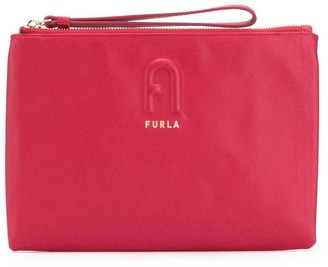 Furla Logo Embossed Clutch Bag