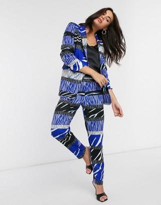 Liquorish cigarette pants co-ord in layered zebra print