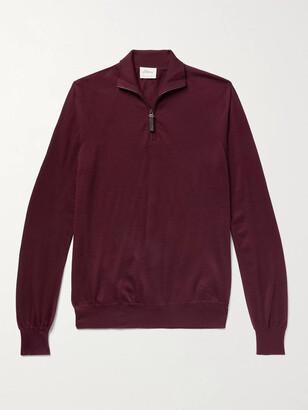 Brioni Melange Wool Half-Zip Sweater - Men - Burgundy