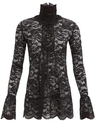 Paco Rabanne High-neck Gathered-floral Lace Blouse - Black