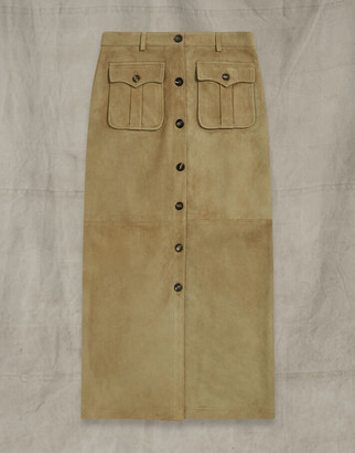 Belstaff LONG CITY SAFARI SKIRT Yellow UK 8 /