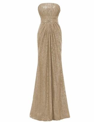 Solovedress Women's Elegant Sequin V Neck Backless Long Bridesmaid Dresses Wedding Party Gown (UK 10