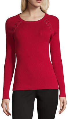 BY AND BY by&by Womens Scoop Neck Pullover Sweater - Juniors