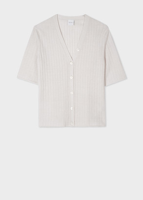Paul Smith Women's Off White Ribbed V-Neck Cardigan