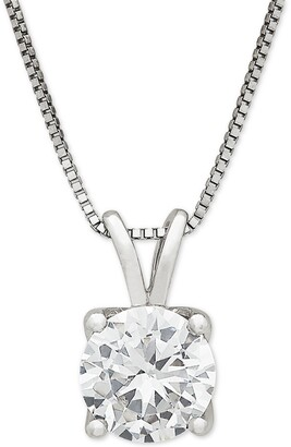 """Grown With Love Lab Grown Diamond Solitaire 18"""" Pendant Necklace (1 ct. t.w.) in 14k White Gold"""