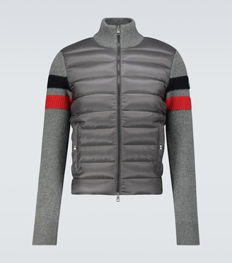Moncler Padded cardigan with wool sleeves