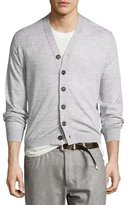 Brunello Cucinelli Fine-Gauge Wool-Blend Button Cardigan, Light Gray