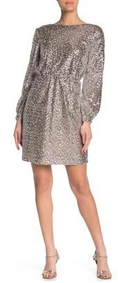 Julia Jordan Long Sleeve Crew Neck Glitter Dress