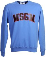 MSGM Printed Bright Blue Cotton Sweater