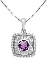 JCPenney FINE JEWELRY Love in Motion Genuine Amethyst and Lab-Created White Sapphire Cushion-Cut Pendant Necklace