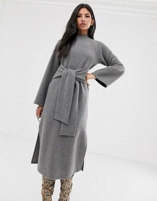 Asos Design DESIGN super soft crew neck tie front midi dress in grey