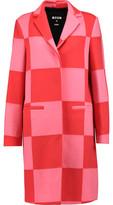 MSGM Two-Tone Checked Wool-Blend Felt Coat