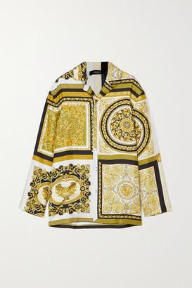 Versace Printed Silk-twill Pajama Shirt - Gold