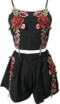 Sun-shine Trade Women's Sexy Embroidered Floral Rose 2 Piece Crop Top+Short Set
