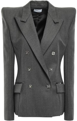 Thierry Mugler Double-breasted Patent Leather-trimmed Wool Blazer