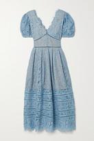 Thumbnail for your product : Self-Portrait Crochet-trimmed Cotton-blend Corded Lace Midi Dress - Light blue