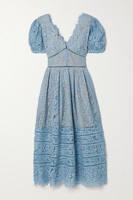 Self-Portrait Crochet-trimmed Cotton-blend Corded Lace Midi Dress - Light blue