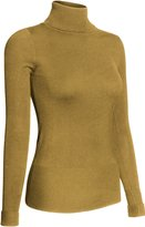BodiLove Women's Long Sleeve Fitted Turtleneck Sweater S (SW195 - Brown-dup)