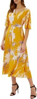 Jaeger Floral Print Kimono Dress, Orange
