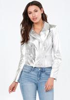 Bebe Silver Leather Moto Jacket