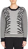 Kenzo Crew Neck Embellished Mixed-Print Sweater, Black