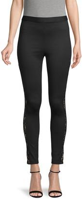BCBGMAXAZRIA Lace-Trimmed Leggings