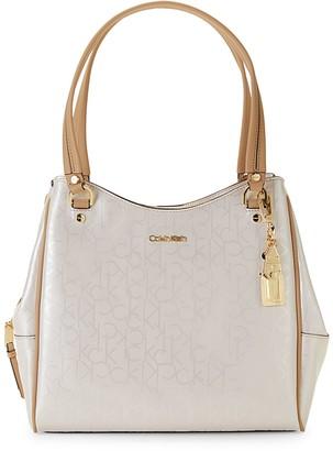 Calvin Klein Logo Faux Leather Shoulder Bag