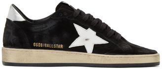 Golden Goose Black and Silver Suede Ball Star Sneakers