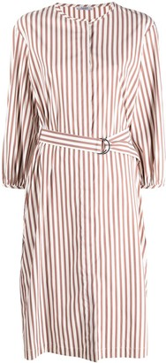 Peserico stripe-print D-ring buckle dress