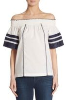 Tory Burch Portia Embroidered Off-the-Shoulder Top