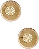 14K Yellow Gold Diamond-Cut Round Button Stud Earrings